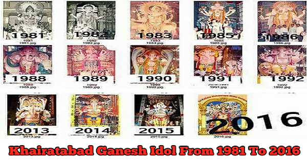 Khairatabad Ganesh idol 1981 to 2016