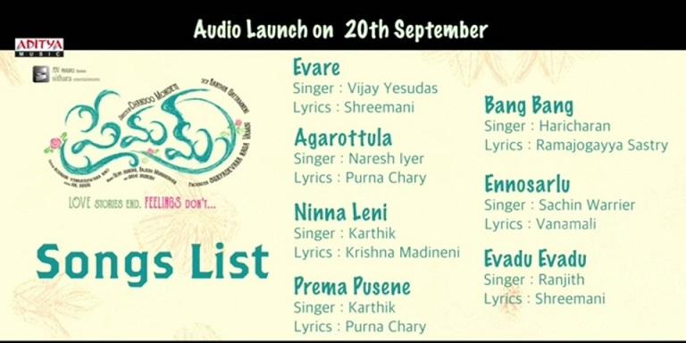 Premam Telugu Movie Audio Songs List