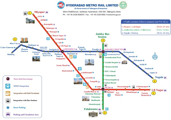 Hyderabad Metro Rail Timings Route Map Ticket Price Fares HMRL