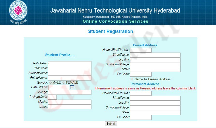 JNTUH OD Student Registration form