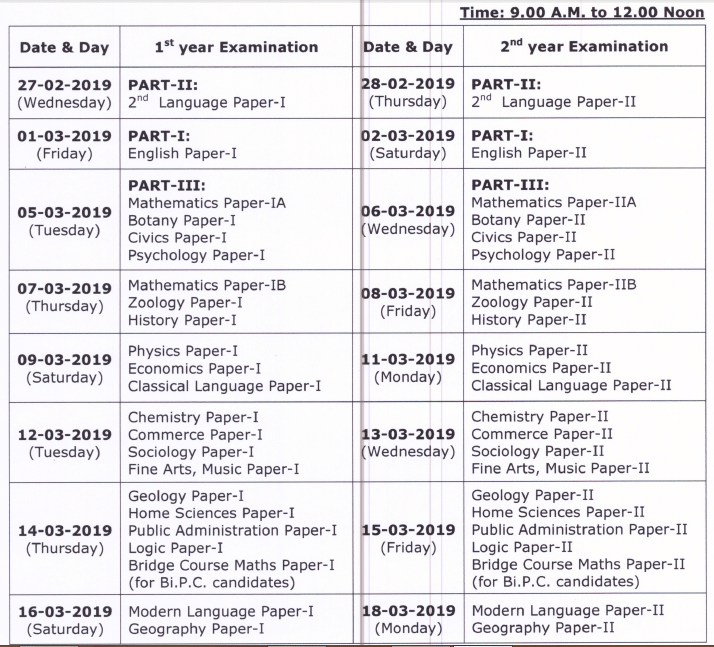 TS Inter 1st 2nd Year Time Table