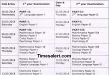 Telangana Intermediate Time Table 2018 Revised