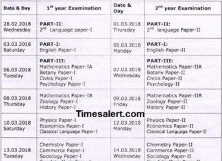 Telangana Intermediate Time Table 2018 Revised