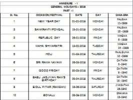 Telangana Public Holidays List 2018