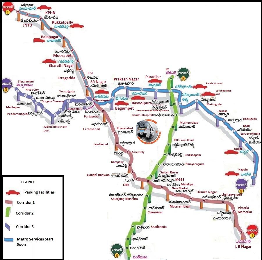 Hyderabad Metro Rail Route Map Telugu