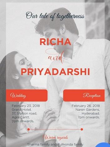 Priyadarshi Pullikonda Wedding Card