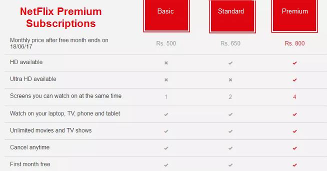 Netflix Premium Subscriptions