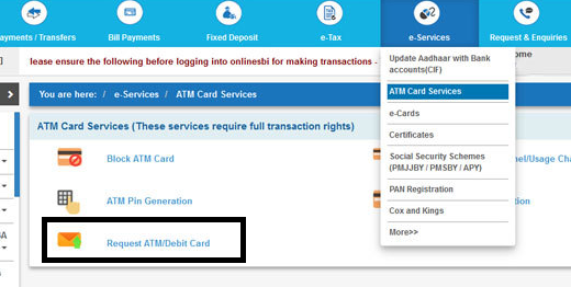 SBI EMV Based ATM Online