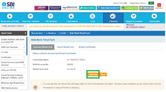 SBI Virtual Card Online