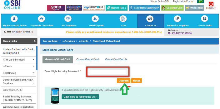 SBI Virtual Card Payment