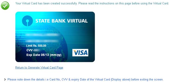 SBI Virtual Credit Card