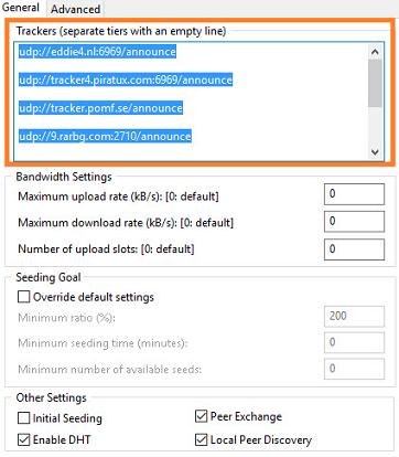 Torrents Trackers Adding Screenshot