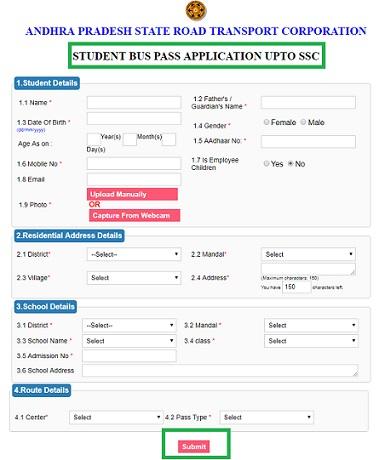 APSRTC Bus Pass Application