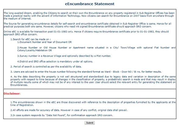 IGRS eEncumbrance Statement