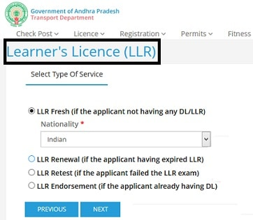 LLR Apply Online