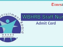 WBHRB Staff Nurse Admit Card