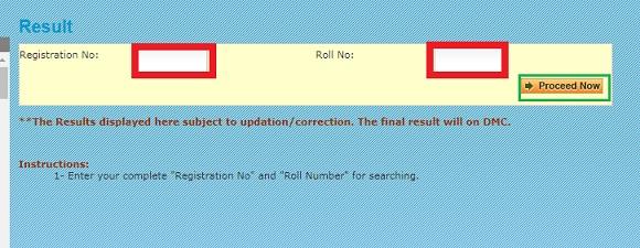 MDU Rohtak Result page