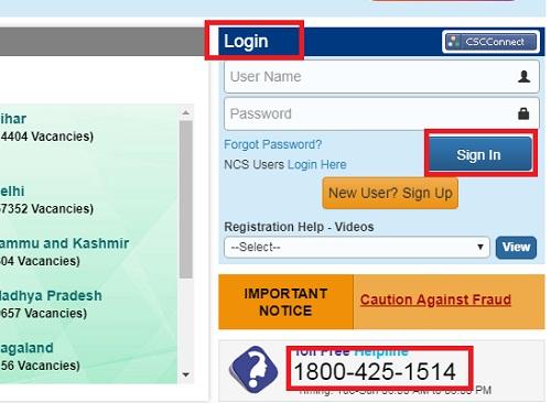 NCS Registration login