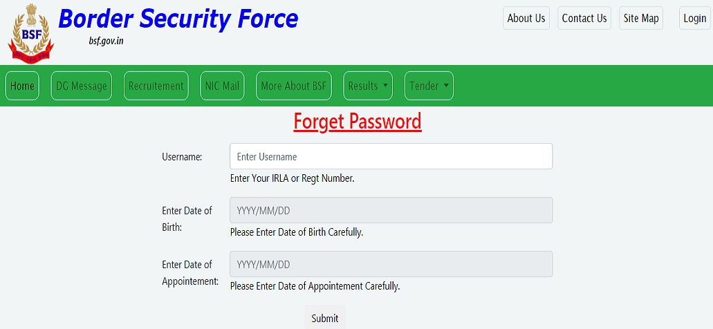 BSF Pay Slip Password