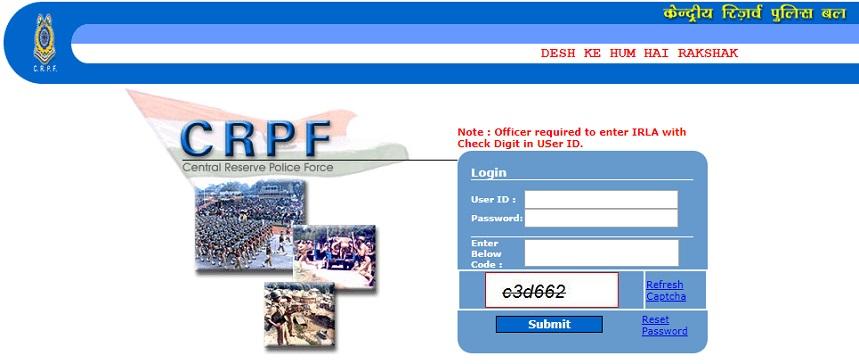 CRPF Pay slip Login