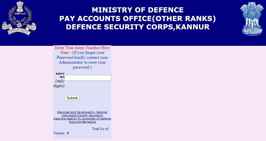 DSC Army Pay Slip Login
