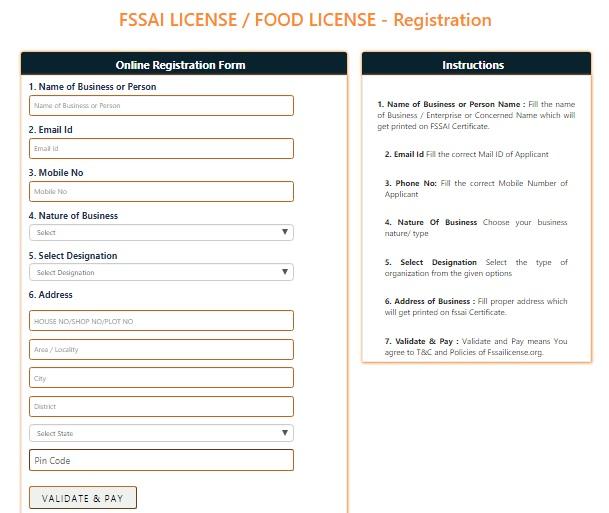 Food License Registration