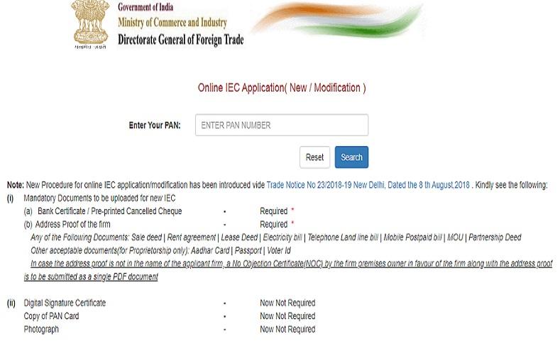 Import Export License Registration