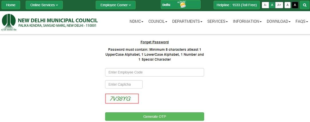 NDMC Payslip Password