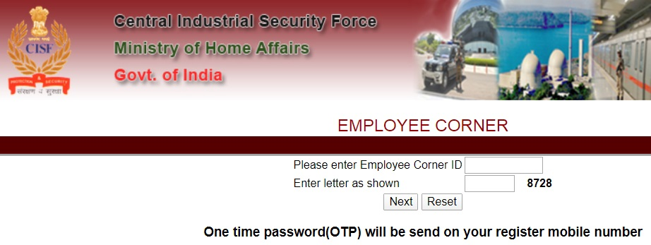 Reset CISF Payslip Password