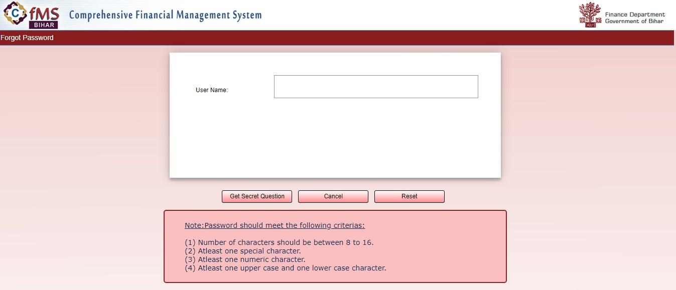 Recover CFMS Forgot Password