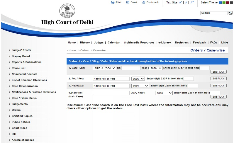 Delhi High court case status