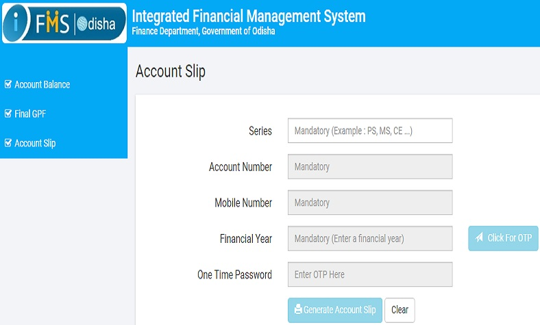 IFMS Odisha GPF Account Slip