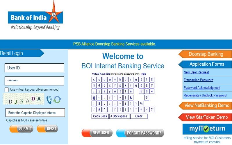 BOI Net Banking Login