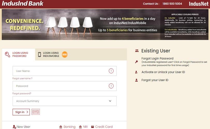 IndusInd Net Banking login