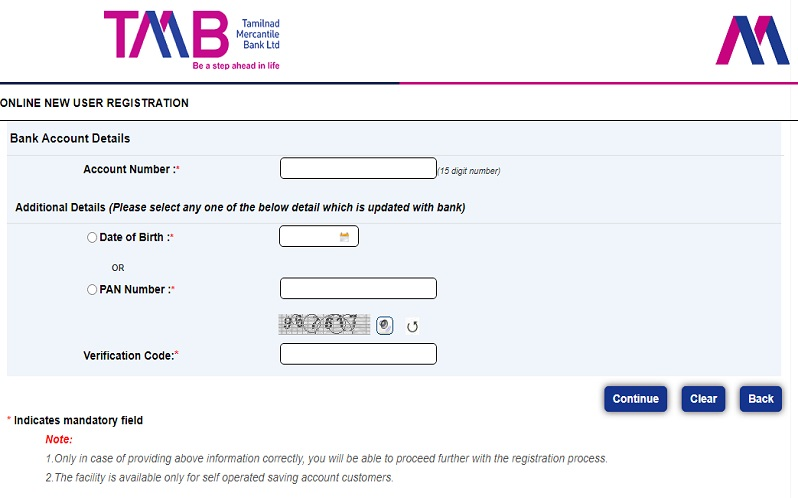 TMB Net Banking Registration